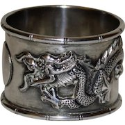 Antique Sterling Chinese Napkin Ring with Dragon