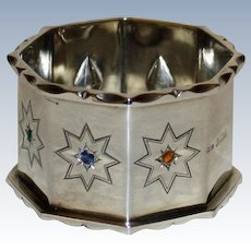 Vintage English  Sterling Napkin Ring with Inset Semi- Precious Stones, Fully Hallmarked