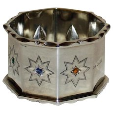 Vintage  Sterling Napkin Ring with Inset Semi- Precious Stones - Unique