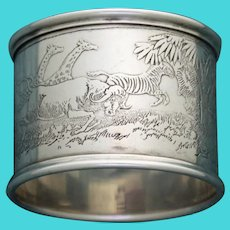 Antique Sterling Reed & Barton Napkin Ring, African Animals