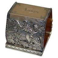 Civil War Era Duhme Coin Silver  Napkin Ring with Grape Garlands