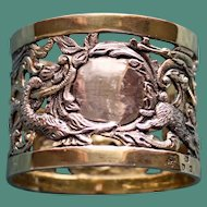 1899 Antique English Sterling Napkin Ring Featuring a Collection of Wild Animals