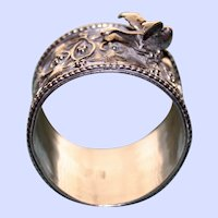 Antique Silver Chinese Napkin Ring with Applied Bird - Rare