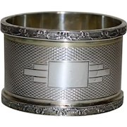 1939 English Sterling Silver Art Deco Napkin Ring, Birmingham, Heavy