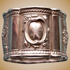 1854 American Coin Silver Napkin Ring, Fruits of the Land