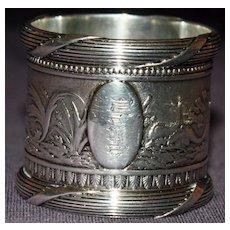 Magnificent Antique Gorham Sterling Napkin Ring, Mythical Scene Water Sprites on Horseback