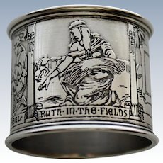 Antique Sterling Gorham Bible Scenes Napkin Ring - Stunning