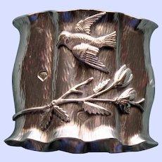 Antique Wood & Hughes Sterling Napkin Ring, Unique Log Shape