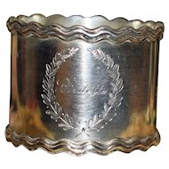 Shreve Heavy American Sterling Napkin Ring with Wave Border