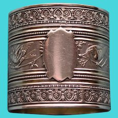 Antique American Coin Silver Napkin Ring, Perching Birds on Branches