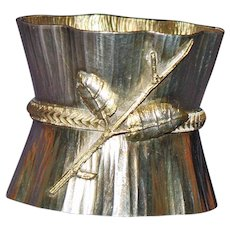 Antique Wood and Hughes Coin Silver Napkin Ring with Decorative Branch