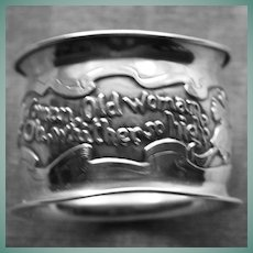 Antique Sterling Napkin Ring,  Repousse Children's Nursery Rhyme