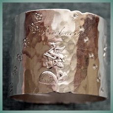 Duhme & Co. Early American Sterling Napkin Ring with Roman Heads