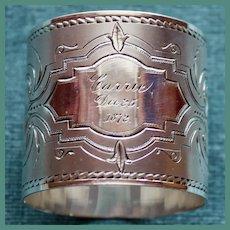 Antique American Coin Silver Napkin Ring Dec. 25, 1872