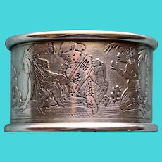 Antique Kerr American Sterling Napkin Ring with Children of Many Lands