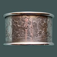 Antique Sterling Napkin Ring with Children of Many Lands by Kerr