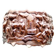 Antique Sterling Chinese Napkin Ring Featuring Detailed Procession