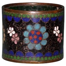 Antique Cloisonne Napkin Ring with Stylized Flowers