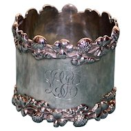 42.0 Gram Antique American Sterling Napkin Ring with Four Leaf Clovers and Flowers