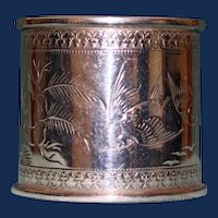 Antique American Coin Silver Napkin Ring, Birds and Floral Decoration