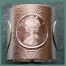Antique Shreve American Sterling Napkin Ring with Coin Designs - Rare