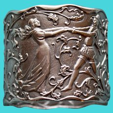 Antique Gorham Sterling Napkin Ring, Dancing Figures - Rare