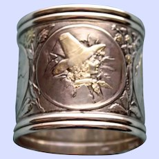 Rare American Gorham Sterling Napkin Ring, Children Hatching From Eggs - Stunning