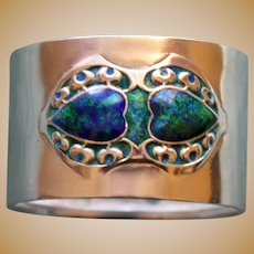 Antique Arts & Crafts Sterling Napkin Ring with Green & Blue Enameling