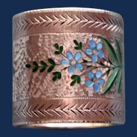 Antique American Sterling Napkin Ring with Enameling by Wallace