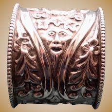 Antique 1893 English Sterling Napkin Ring, Face Design