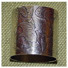 Antique Heavy Whiting Sterling  Napkin Ring with Fish, Christmas 1893
