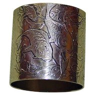 59.7 Gram Antique Heavy Whiting American Sterling  Napkin Ring with Fish, Christmas 1893