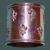 56.6 Gram Shreve Antique American Sterling Napkin Ring, Fleur de Lis Pattern