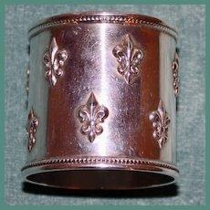Shreve Antique American Sterling Napkin Ring, Fleur de Lis Pattern