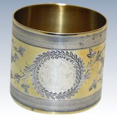 c. 1875 Coin Silver Antique Napkin Ring with Gold Wash