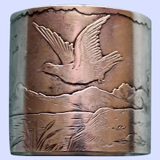 Antique Gorham Sterling Napkin Ring with Peaceful Landscape