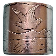 Antique Gorham Sterling Napkin Ring with Peaceful Landscape
