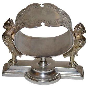 1870 American Gorham Sterling Napkin Ring, Figural Griffins