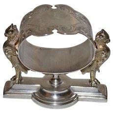 Stunning Gorham 1870 Sterling Figural Napkin Ring, Mythological Creatures