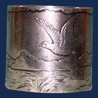 46.3 Gram Antique Gorham American Sterling Napkin Ring with Peaceful Landscape