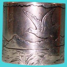 46.3 Gram Antique Gorham Sterling Napkin Ring with Peaceful Landscape