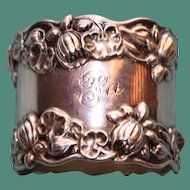 42.1 Gram Antique Gorham American Sterling Napkin Ring with Water Lilies