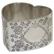 Hallmarked English Antique Sterling Napkin Ring, Heart-shaped