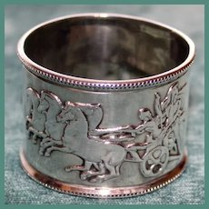 Antique (1877) Sterling English Napkin Ring with Horses and Chariot, Hallmarked