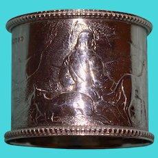 Antique English Sterling Napkin Ring, Detailed Hunter & Dog Scene, Hallmarked