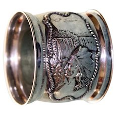 Antique Sterling Napkin Ring,  Native American and Waterfall