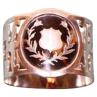 Antique 1909 English Sterling Napkin Ring with Handsome Insert, Hallmarked