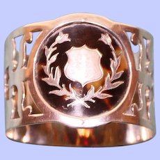 Antique 1909 English Sterling Napkin Ring, Handsome Backing for Shield Cartouche, Hallmarked