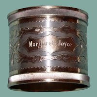 Nineteenth Century American Napkin Ring, Coin Silver & Gold Wash