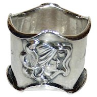 Kerr American Antique Sterling Napkin Ring, Art Nouveau Beauties